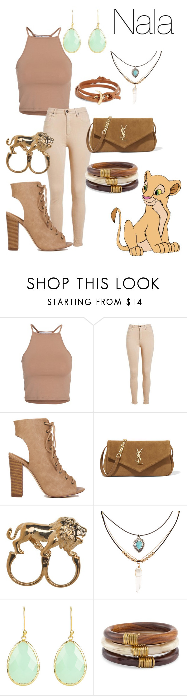 """Nala"" by lauren-e-carroll ❤ liked on Polyvore featuring NLY Trend, Yves Saint Laurent, Stussy, Accessorize, Chico's, Tory Burch, disney, disneybound, Nala and thelionking"
