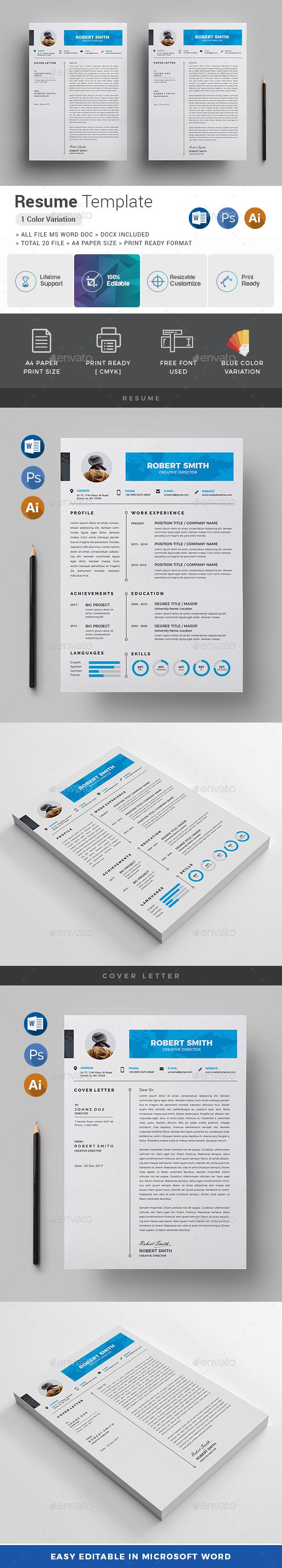 Resume  Template Ai Illustrator And Font Logo