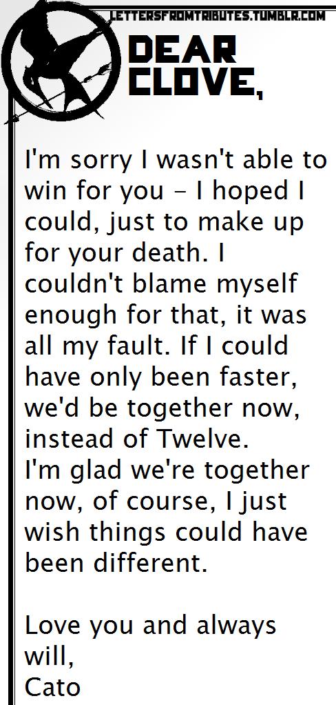 Letter Cato To Clove The Hunger Games Ideas Pinterest Hunger