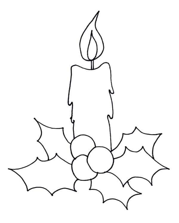 How To Draw Christmas Candle Coloring Pages