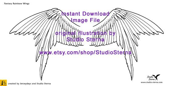 Drawing Fantasy Bird Wing design instant download image file ...