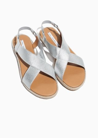 f6c180e7a5c1   Other Stories image 2 of Cross Strap Sandal in Silver ...