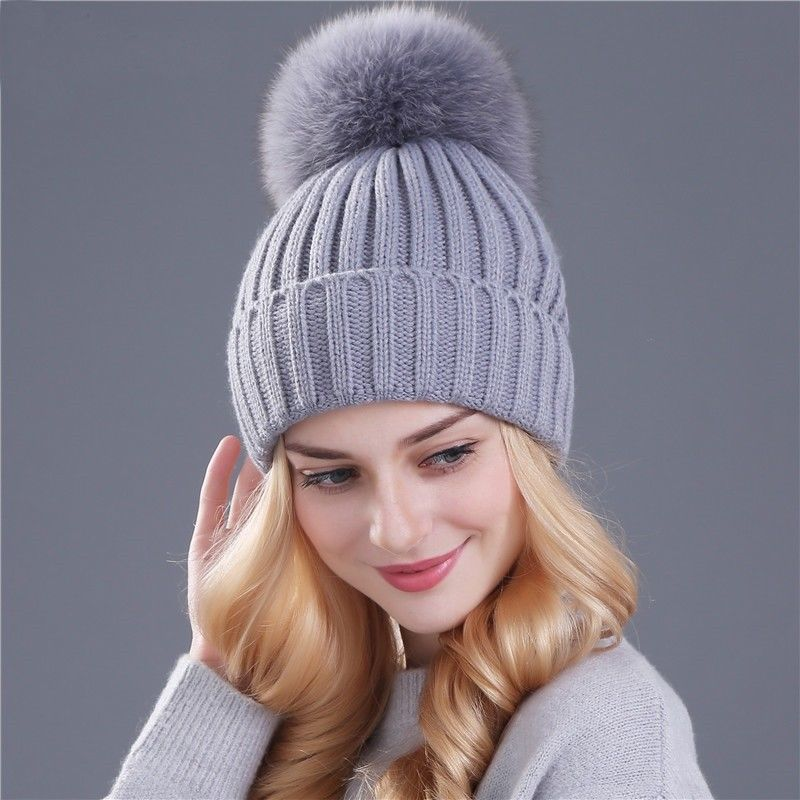 30dffb0e5ed Real Fox Fur Pom Black Red White Warm Winter Hat Women Girl Skullies  Beanies Cap