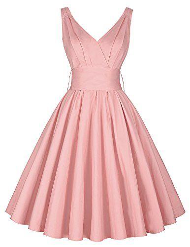 Schwingen Kleid A Linie Kleid Mit Gurtel Rockabilly Partykleid V Rucken Kleid Knielang Sommerkleid L Cl8955 3 Kleider Kleidung Sommerkleid