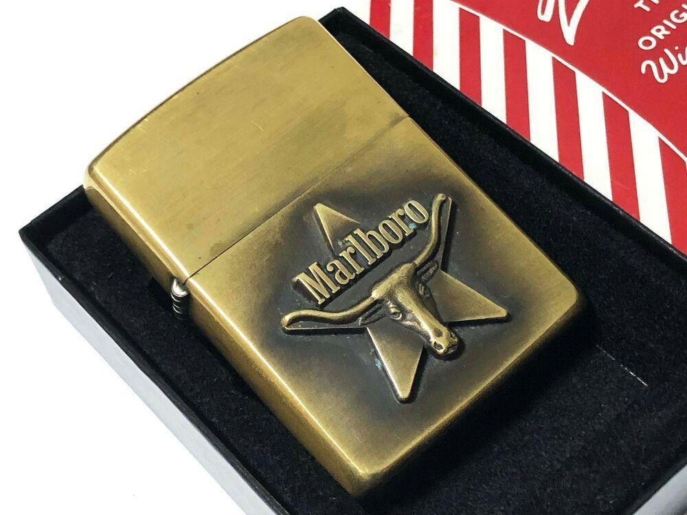 Mega Rare Zippo 1993 Marlboro Longhorn Brass Lighter Vintage Zippo Lighter Engraved Lighter