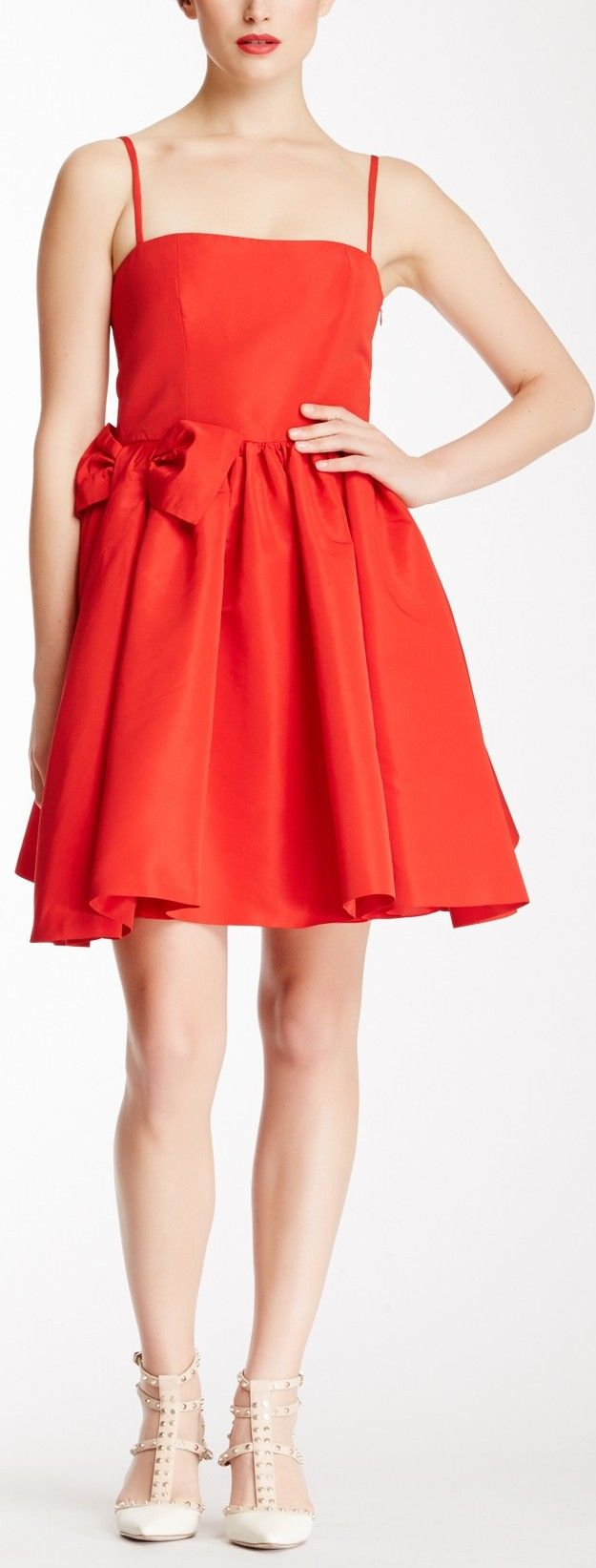 Red Valentino Square Neck Cocktail Dress