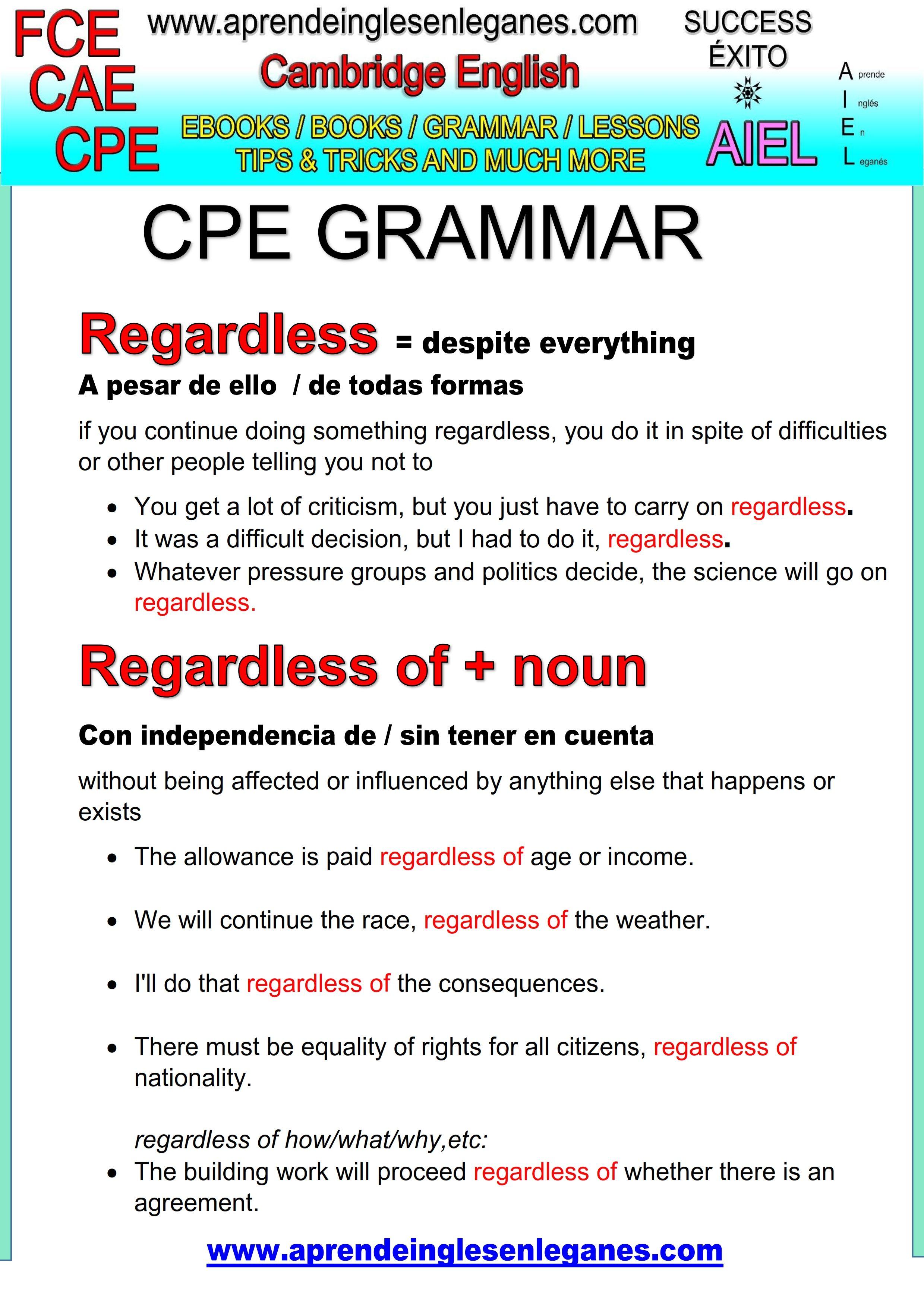 English Idioms Amp Phrases Regardless Cae Cpe Fce Key Word Transformation Gramatica Inglesa