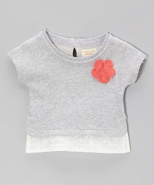 Look what I found on #zulily! Heather Gray Rosette Lace-Trim Sweatshirt - Girls by Eddie & Stine by Eddie Bauer #zulilyfinds