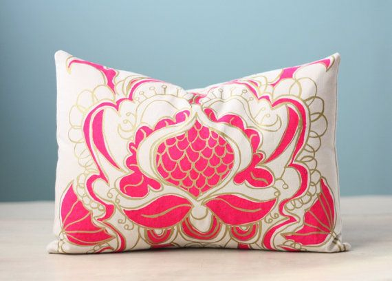 Decorative Cushion Pillow Cover Throw Ogee Lotus Flower 12x16 Lumbar Modern Fluorescent Magenta Gold Hand-Print Screen Print Hostess Gift