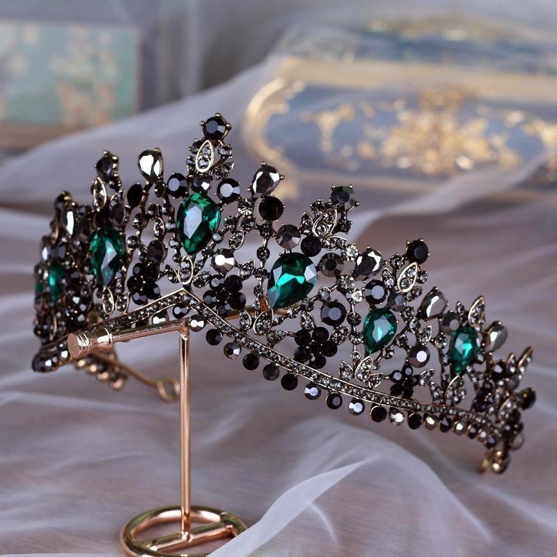 Rhinestones Baroque Bridal Crown Tiara Wedding Bride Hair Headdress FlowerKing