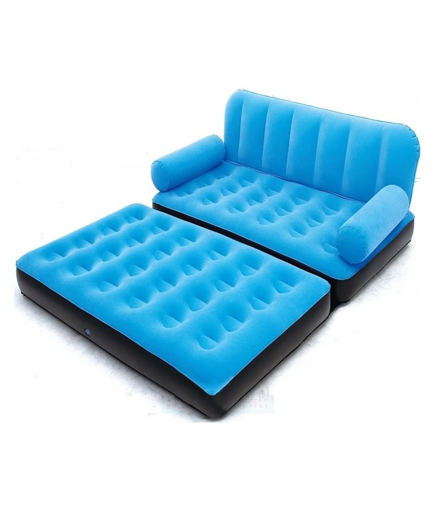Recliner Sofa  IN BLUE VELVET Air Sofa Cum Bed with Free Electric Pump BUY IBS
