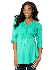 Convertible Sleeve Tie Front Maternity Tunic