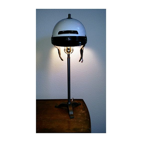 Custom Motorcycle Helmet Table Lamp Upcycled By HappyBlueMoon