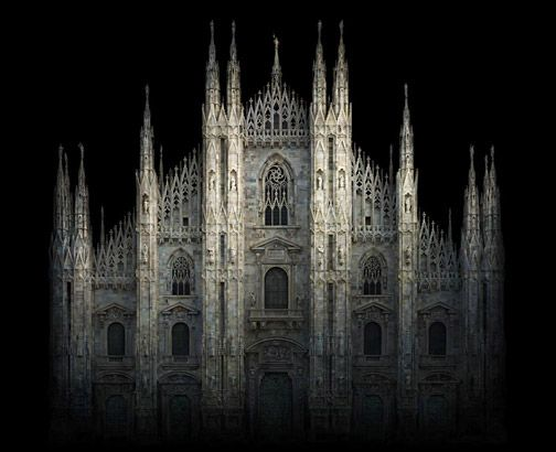 I find this one almost frightening; The stone spires look like broken bits of bone. > Duomo, Milan, 2010 (Irene Kung)