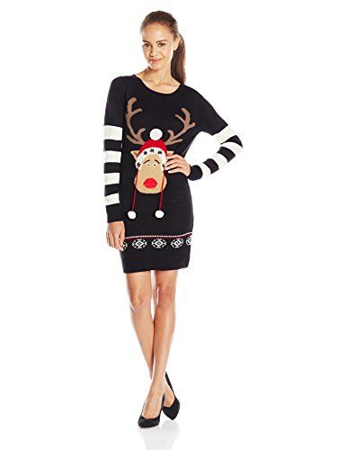bef95750b93 Amazon.com  Blizzard Bay Juniors  Christmas Tunic Sweater Dress with  Reindeer Pom Poms  Clothing