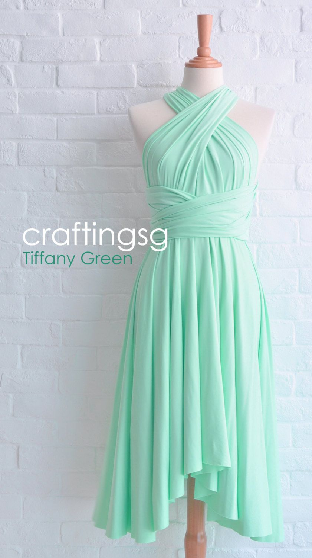 Bridesmaid Dress Infinity Dress Seafoam Green Knee Length Wrap ...