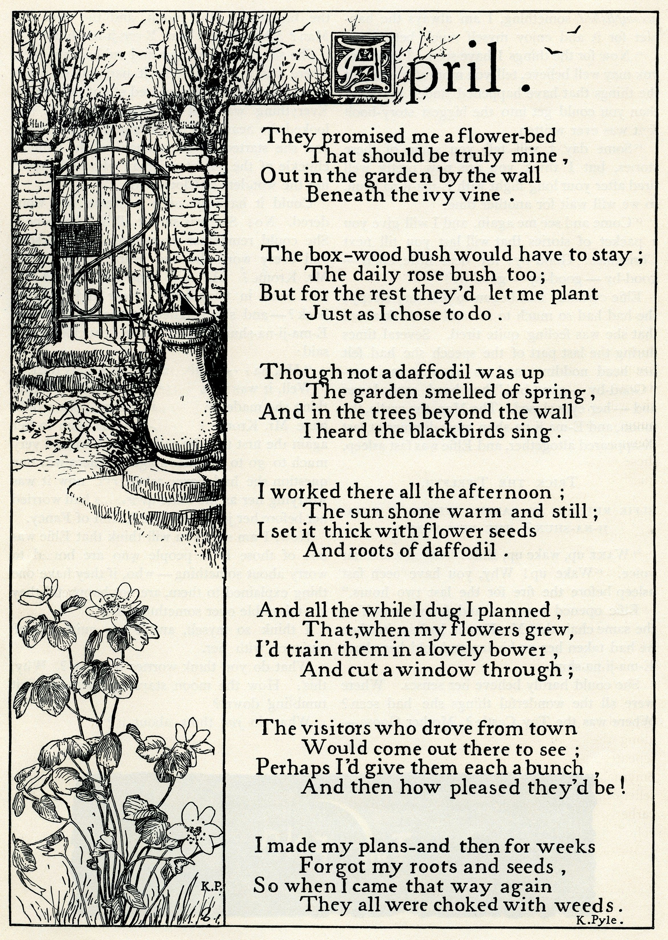 April By K Pyle Free Vintage Illustrated Poem Garden Children Poems Theme Of I Wandered Lonely A Cloud