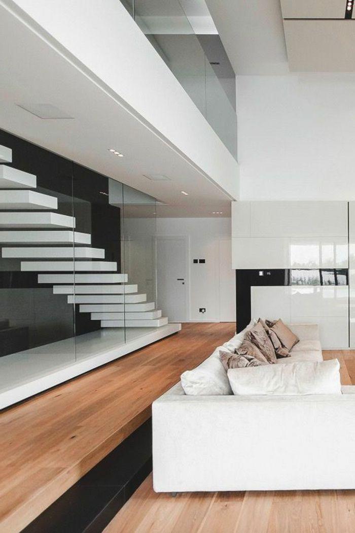 Casas minimalistas grande pared de vidrio sof blanco for Diseno de interiores de casas modernas minimalistas
