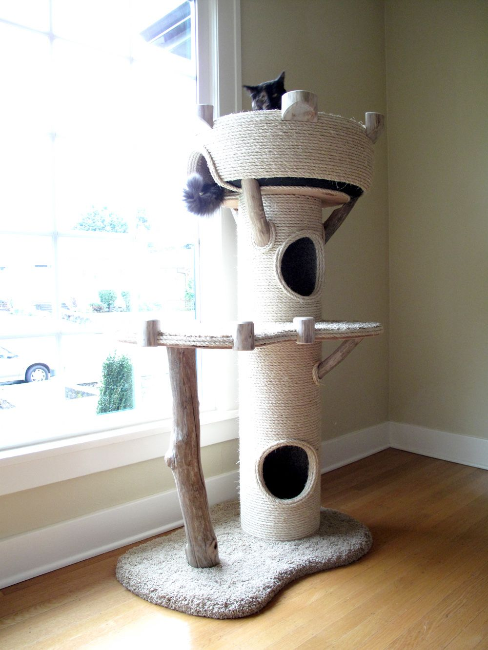 Not Sure Of About Needing The Double Tube Ones But Maybe Just A Scratching Post In The Middle Under The Loft Area Diy Cat Tree Cat Castle Cat Tree