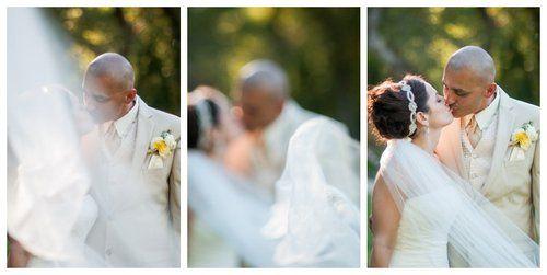 wedding bride and groom veil