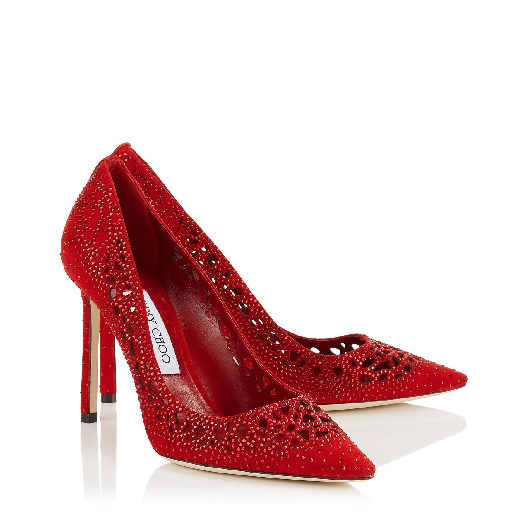 259ec09cef3 Jimmy Choo ROMY 100 Red Perforated Suede with Crystal Hotfix ...