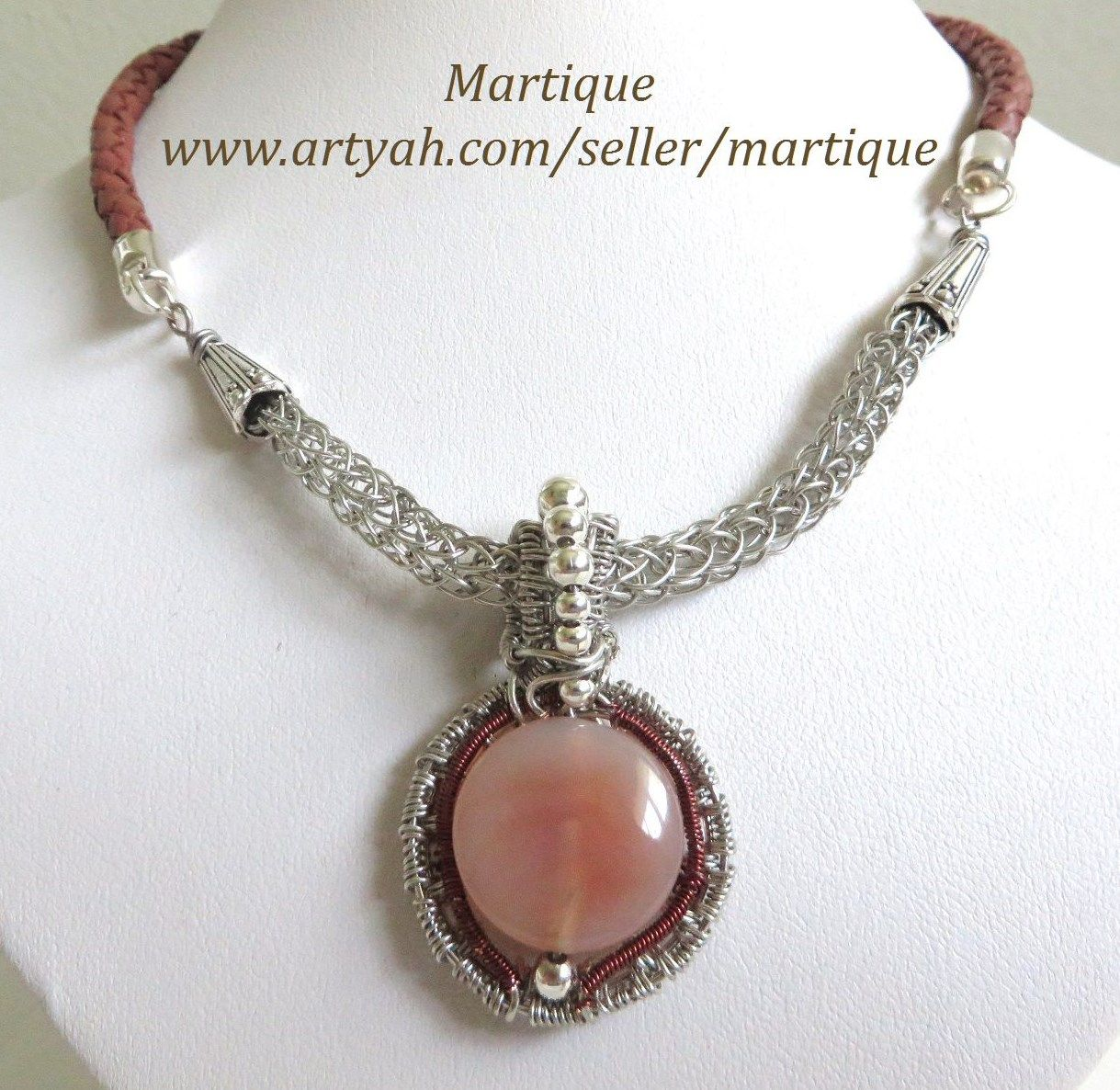 Brown Agate stone necklace includes wire wrapping with Viking weave ...