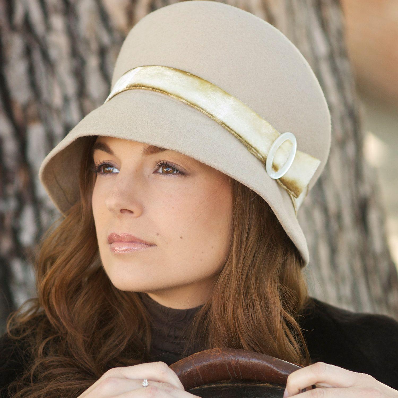 ea82ea9b8ba Putty Color Wool Felt Women s Autumn Cloche Hat.  68.00