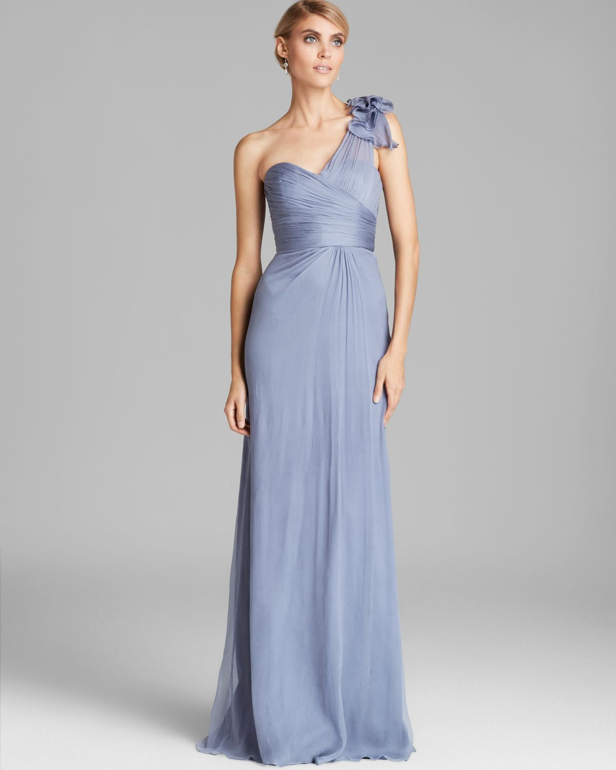 Amsale blue one shoulder bow detail chiffon gown gowns