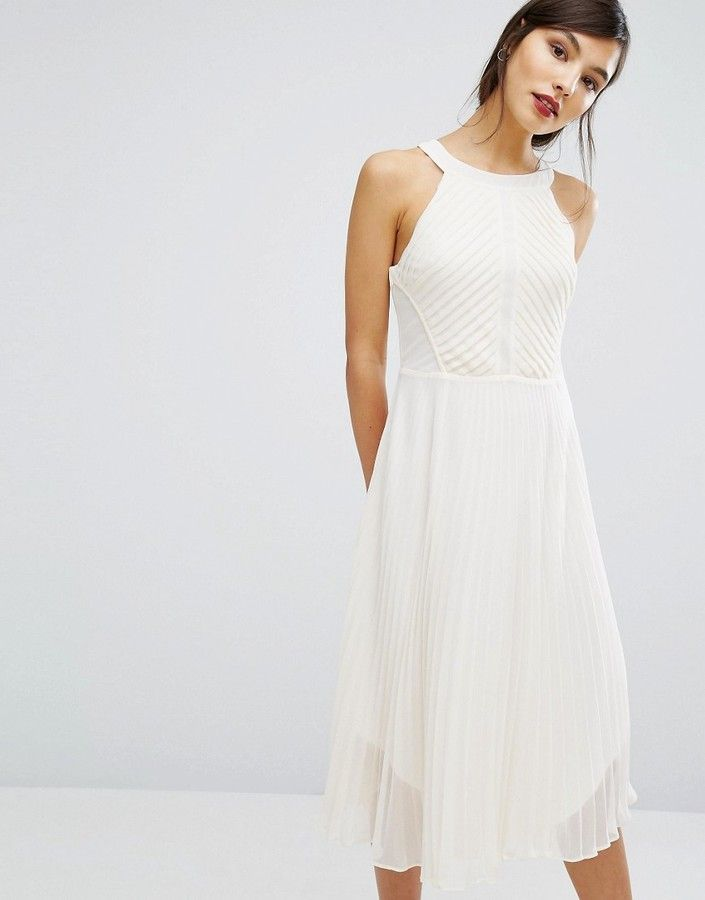 20e2ef4f8a1d Oasis Pleat Asymmetric Hem Midi Dress | Products | White midi dress ...