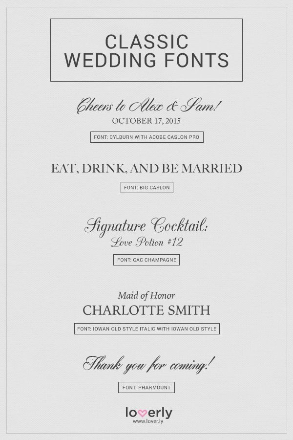 20 Fabulous Wedding Fonts For Every Wedding Style | Pinterest ...