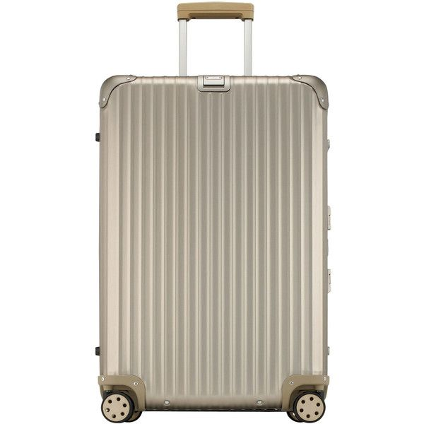 """Rimowa North America Topas Titanium 29"""" Multiwheel ($1,490) ❤ liked on Polyvore featuring bags, luggage and titanium"""