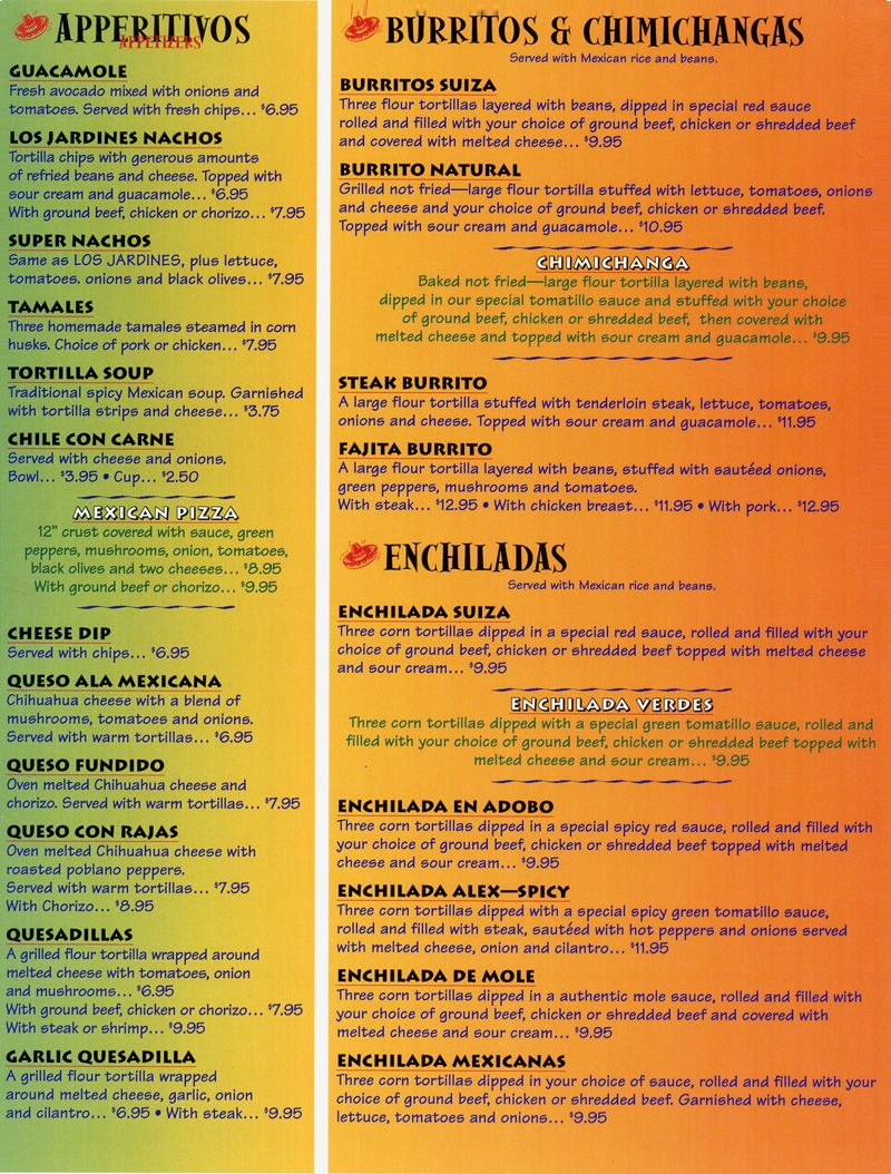 Menu Sample  El Mundialitos Restaurant Design Ideas