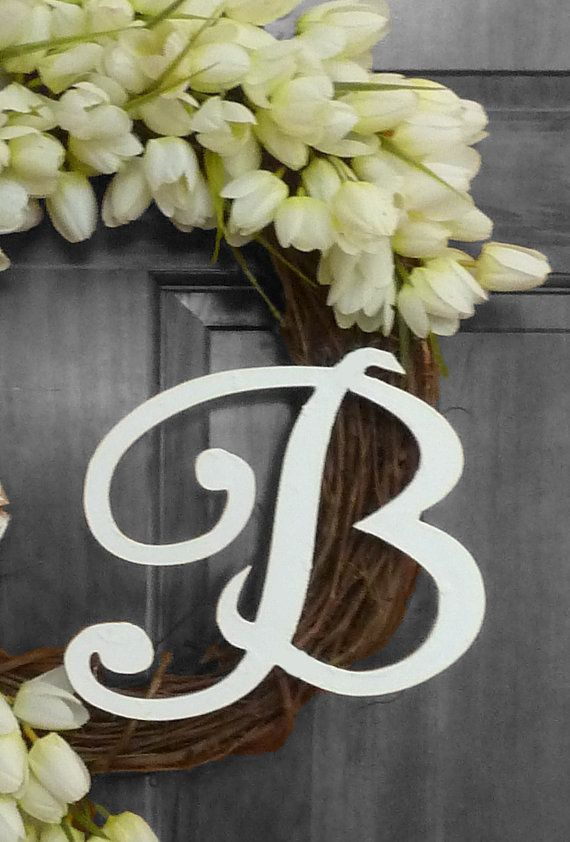 White Tulip Wreath Wreath with Monogram Front by RefinedWreath