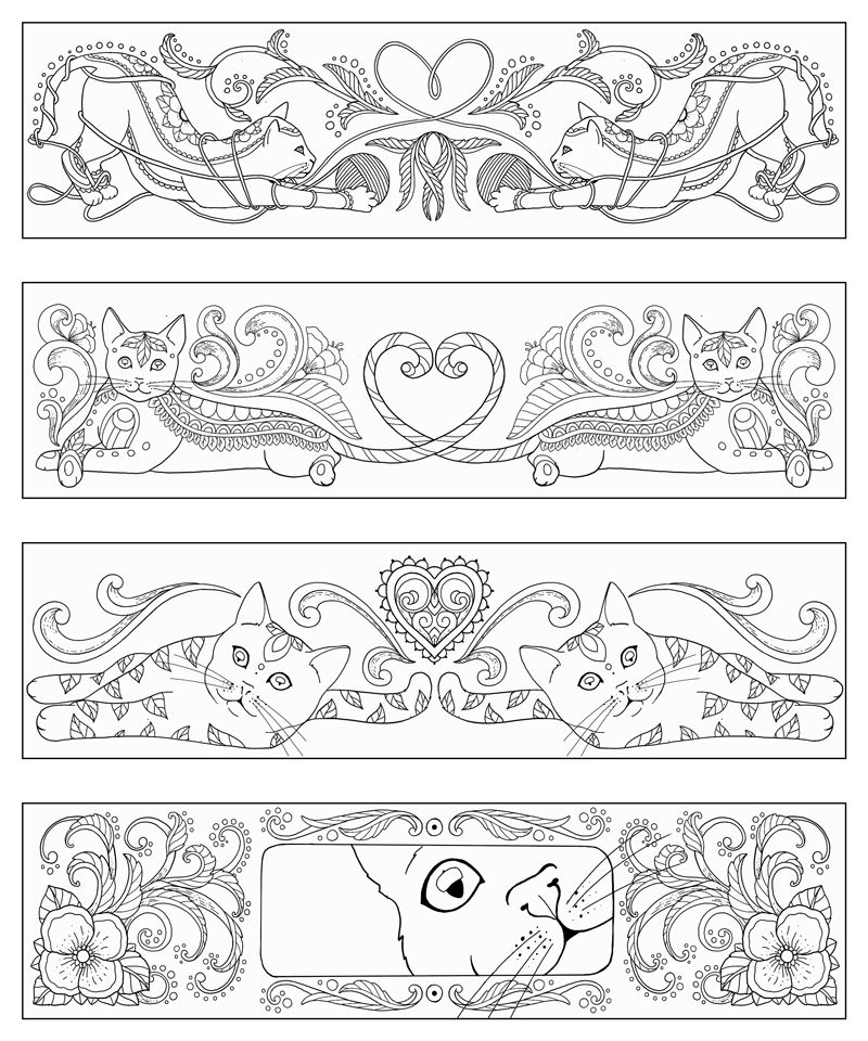 Marica Zottino COLOR CATS Bookmarks Coloring pages