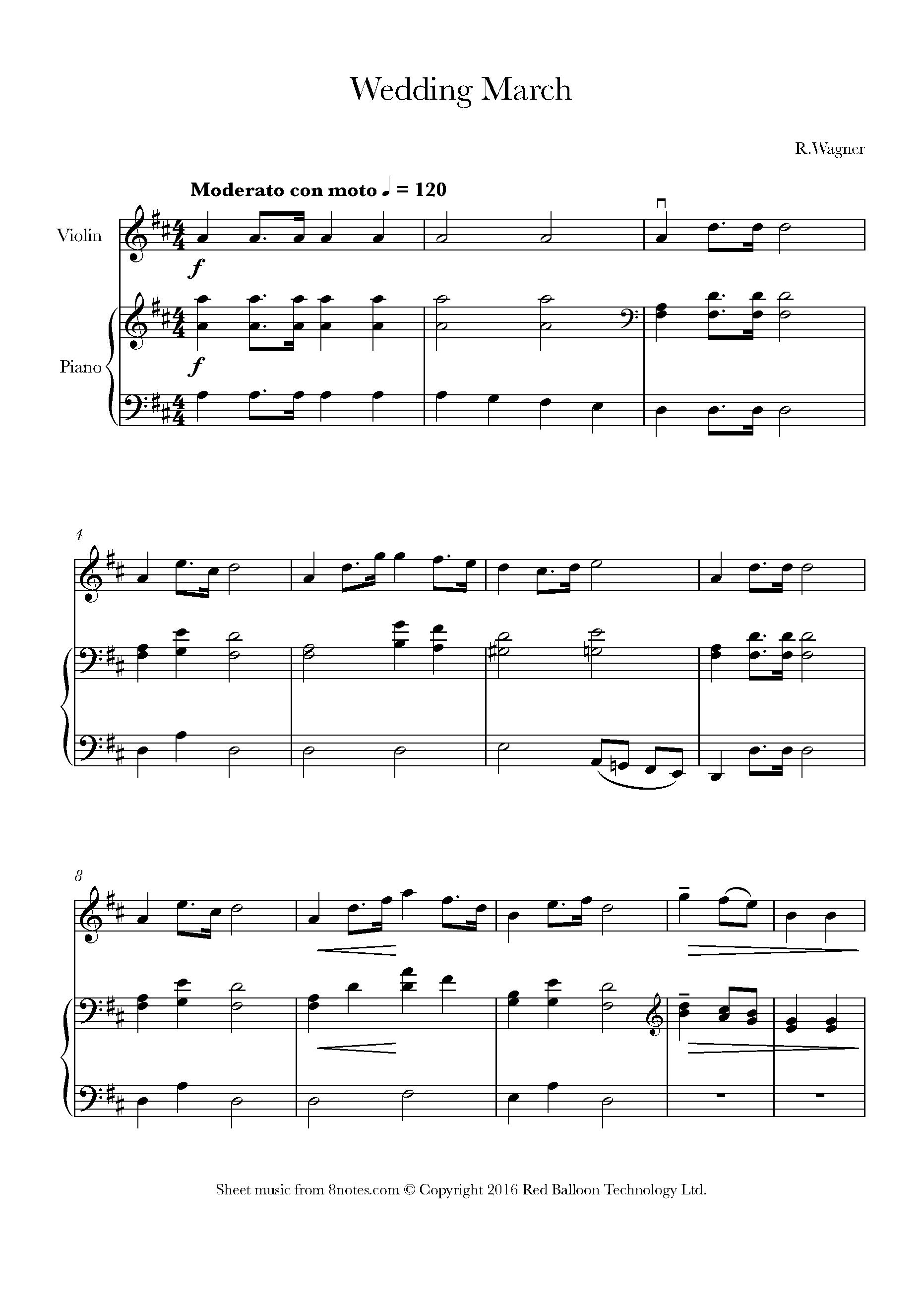 Wagner Bridal Chorus Sheet Music For Violin 8notes Com Sheet Music Free Violin Sheet Music Violin