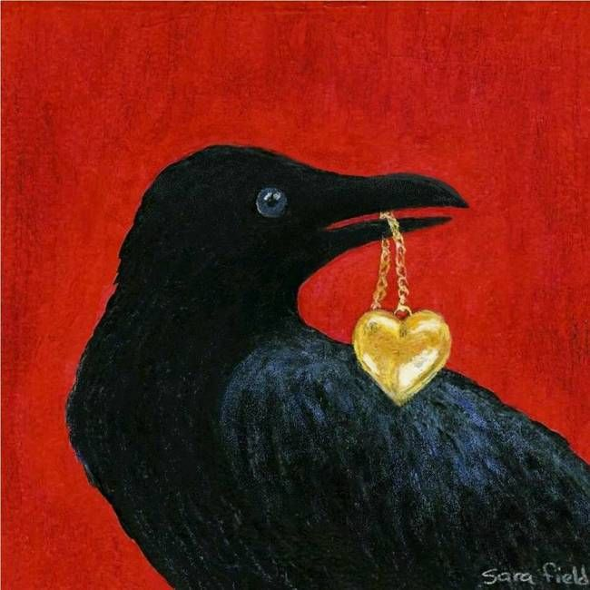 """Crow with Locket"" by Sara Field, Michigan // Imagekind.com – Buy stunning, museum-quality fine art prints, framed prints, and canvas prints directly from independent working artists and photographers."