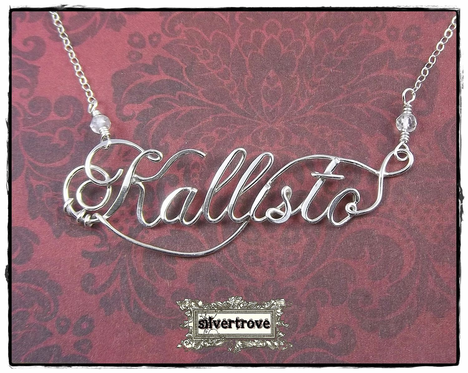 Personalized Sterling Silver Calligraphy Script by SilverTrove, $64.97