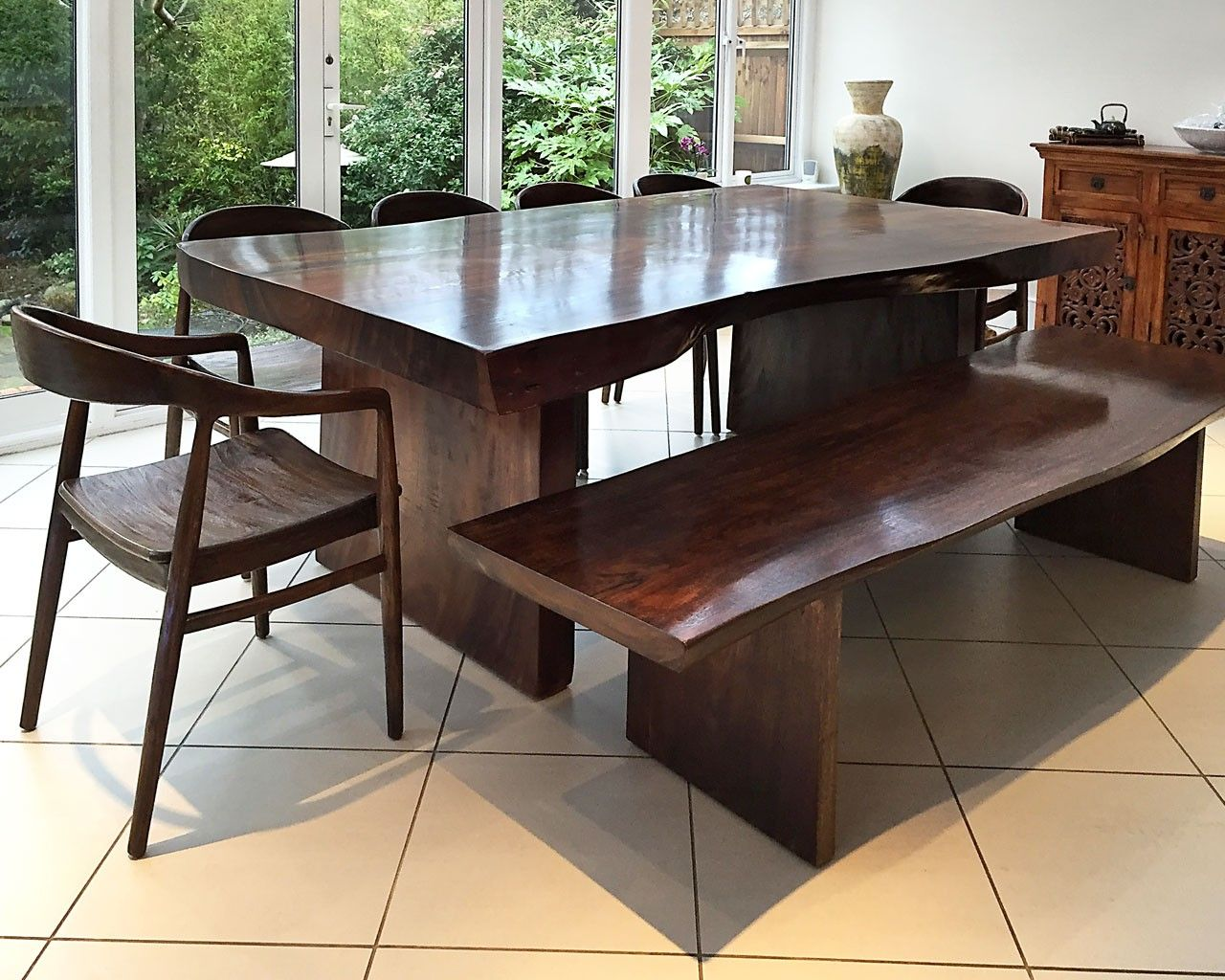 Bespoke Suar Dining Table   Stained dark with matching Suar Bench and  contemporary Teak chairs. Bespoke Suar Dining Table   Stained dark with matching Suar Bench