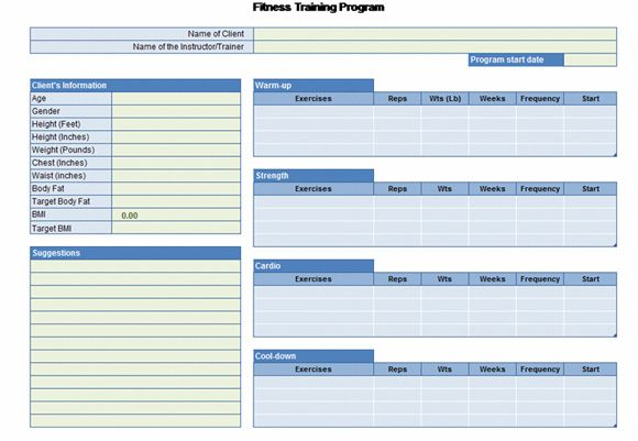 Workout Chart template Excel Fitness template – Workout Char Template