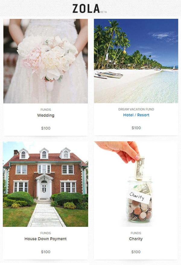 The All New Online Wedding Gift Registry From Zola Junebug Weddings Online Wedding Registry Online Wedding Gifts House Down Payment