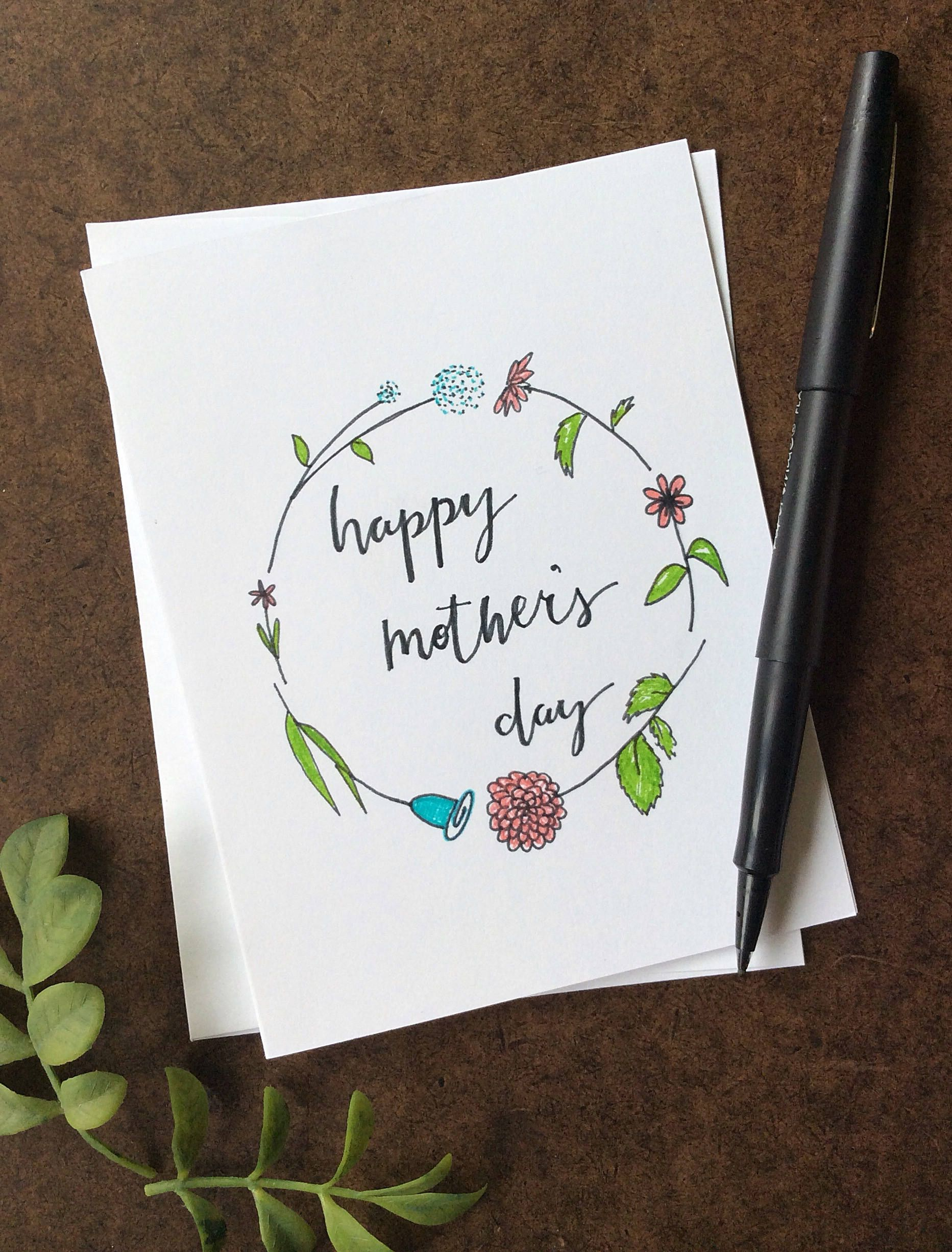 Items similar to Happy Mother's Day: Mother's Day Card, Hand Drawn, Modern, Bohemian, Floral Wreath Card on Etsy