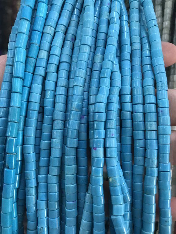 "3MM TURQUOISE GEMSTONE GREEN BLUE STRIPE ROUND TUBE HEISHI LOOSE BEADS 12.5/"""