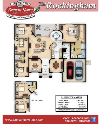 A Breakfast Area And Great Room Overlooking A Covered Lanai Are Two Great Features Of The Rockingham Plan From Southern Floor Plans How To Plan Southern Homes