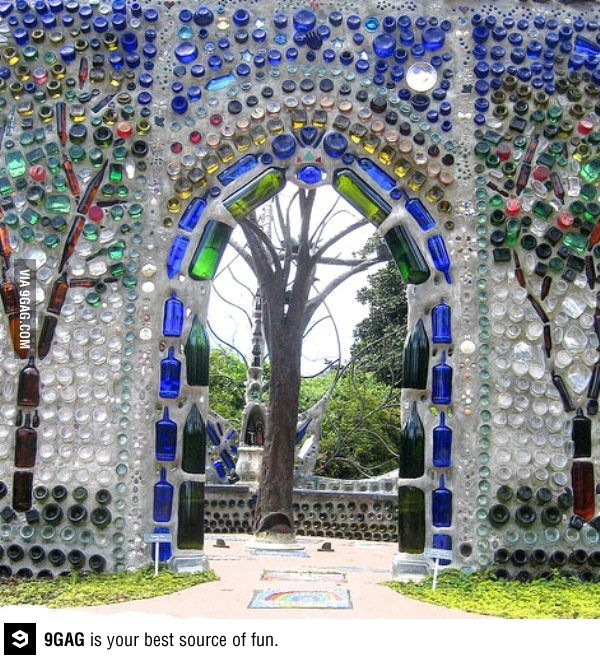 An arch made of bottles