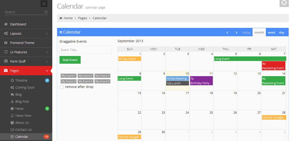 Image Result For Event Calendar Dashboard Tong Chiang Html
