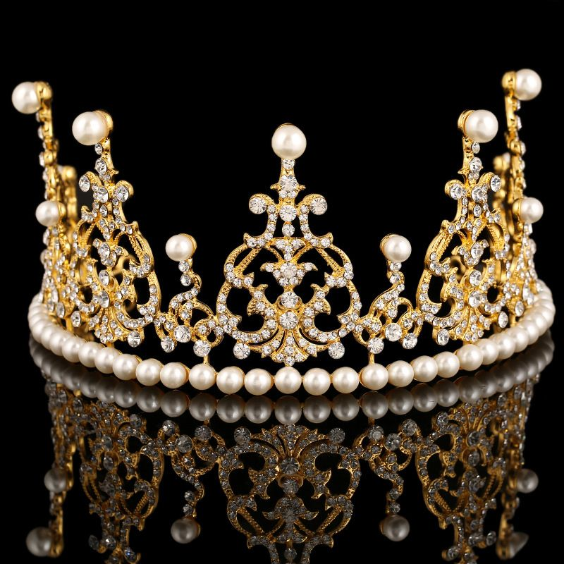 European Designer Vintage Wedding Gold Tiara Crown Crystal Pearl