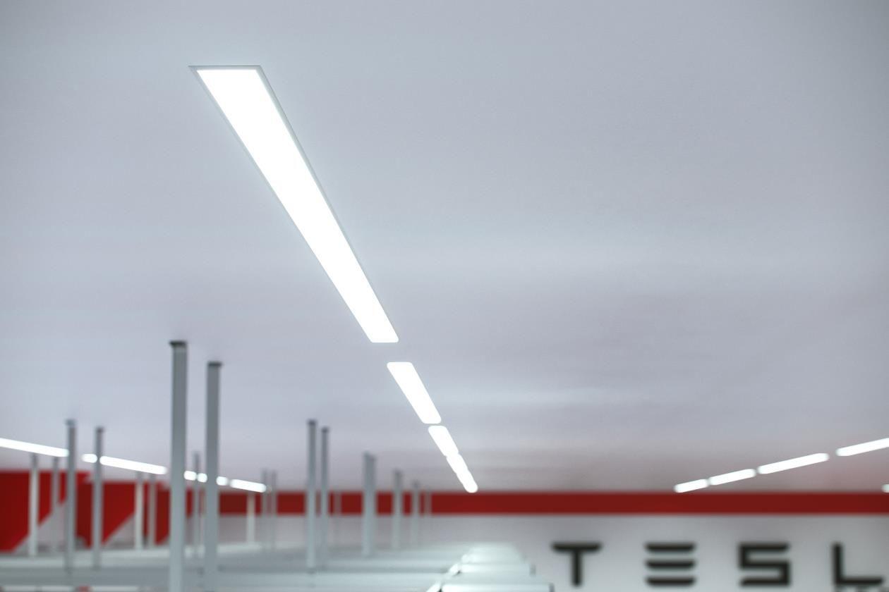 Ceiling led lights garage car shop workshop design idea led