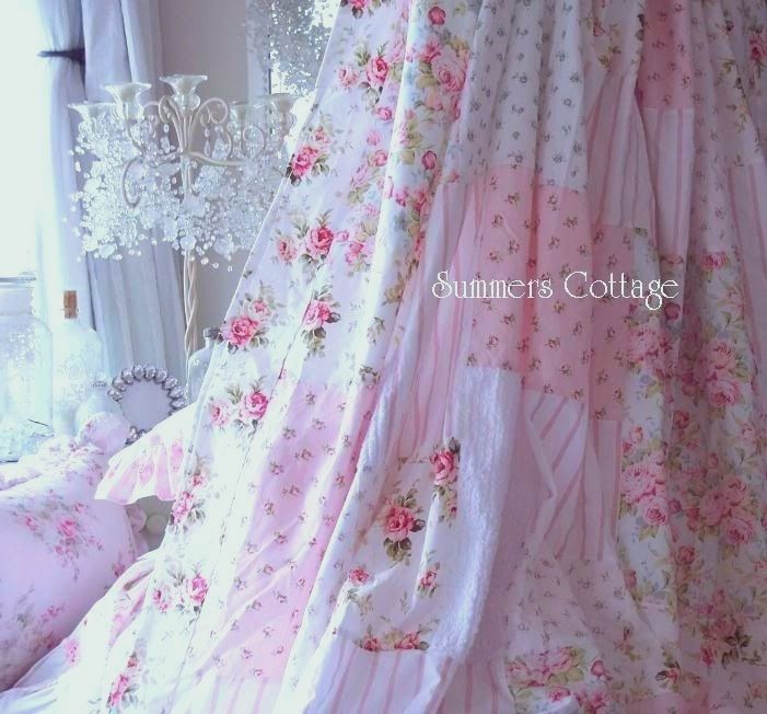 Shabby White Patchwork Chenille Beach Cottage Aqua Blue Chic Pink Roses  Shower Curtain