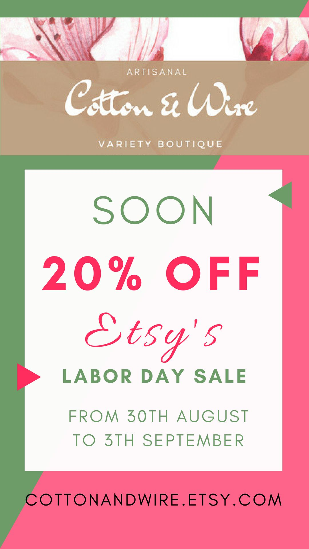 We Are Joining The Labor Day Etsy Sale From 30th August To 3rd