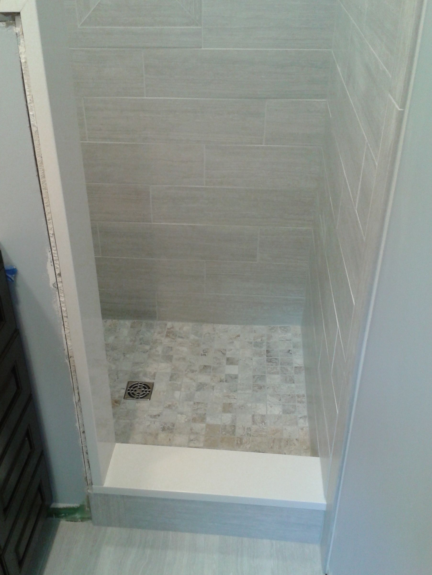 small bathroom stand up shower tile tile work pinterest